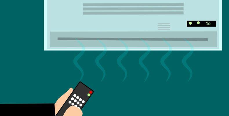 melhora a visualização do leitor ao ver um ar condicionado funcionando com uma pessoa ligando ele com um controle